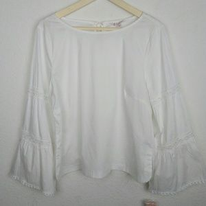 NWT Nanette Lepore White Boho Embroidery Top